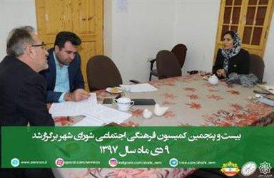 بیست وپنجمین کمیسیون فرهنگی اجتماعی شورای شهر برگزار شد.
