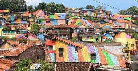 رنگ آمیزی ساختمانها در اندونزی به بهانه جذب توریست و ایجاد اشتغال