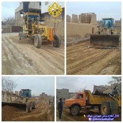 عملیات خاکبرداری و تسطیح  خیابان بعثت ۴ ( ورودی آسبادهای شهر خواف )
