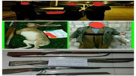 دستگیری ۷متخلف شکارچی در زرین آباد دهلران در گشت های شبانه یگان حفاظت محیط زیست