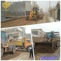 عملیات خاکبرداری و تسطیح خیابان بوستان ۲۶ و ۲۸