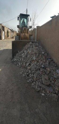 جمع آوری نخاله های ساختمانی شهرک شهید باهنر