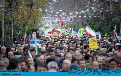 راهپیمایی ۲۲ بهمن ۹۷ مرکز مازندران با حضور اقشار مختلف مردم و اعضای شورای اسلامی شهر ساری