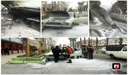 آتش سوزی  خودروی سواری در خیابان امام خمینی(ره) /آتش نشانی رشت