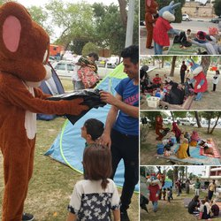 توزیع کیسه های زباله بین میهمانان نوروزی توسط شهرداری خرمشهر با همکاری عروسکهای تن پوش