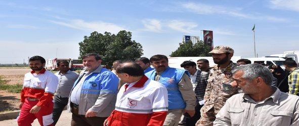 بازدید معاون وزیر کشور و مدیرکل مدیریت بحران خوزستان از اردوگاه ثامن الائمه حمیدیه