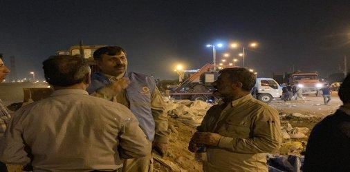 استحکام بخشی سیل بند حاشیه کانال سلمان با حضور مدیر کل مدیریت بحران استانداری خوزستان