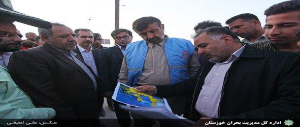 بازدید مدیرکل مدیریت بحران خوزستان از روستاهای در معرض خطر سیلاب شادگان