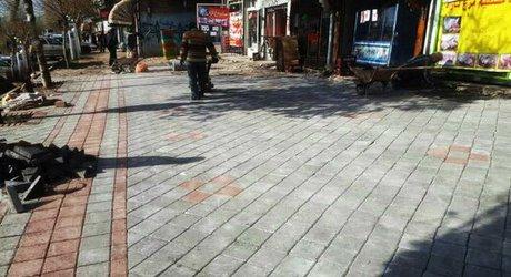 اجرای کفپوش پرسی در ضلع شرقی پیادهراه خیابان ستارخان