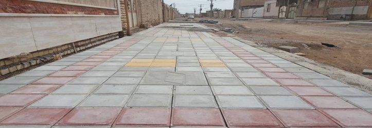 کفپوش گذاری و احداث پیاده رو معابر کوی نودهکتاری توسط شهرداری خرمشهر
