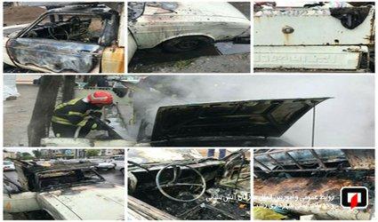 اطفای آتش سوزی خودرو در بلوار لاکان رشت/ آتش نشانی رشت