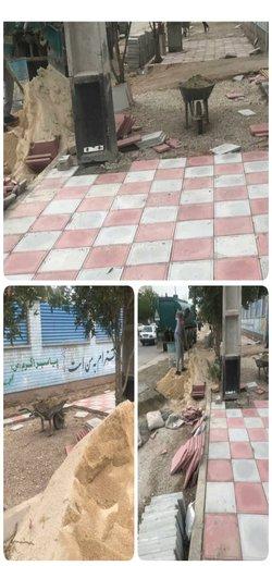 کفپوش گذاری و احداث پیاده رو بلوار امیرکبیر توسط شهرداری خرمشهر