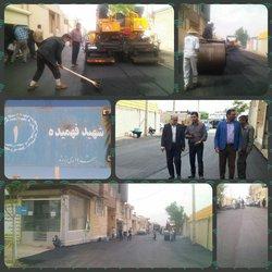 پایان عملیات  آسفالت خیابان شهید فهمیده ۱ و بازدید مهندس مهدلو شهردار زرند از اجرای این طرح