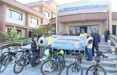 رکابزنی کارمندان شرکت آب منطقه ای همدان با شعار مدیریت صحیح منابع آب