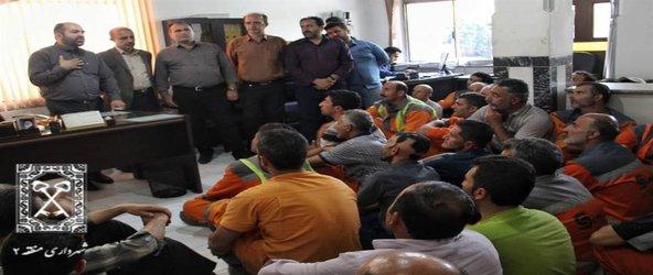 روابط عمومی منطقه دو:معاون خدمات شهری منطقه دو شهرداری رشت در یک بازدید دو ساعته به دیدار پاکبانان رفت