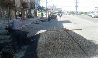 عملیات لکهگیری آسفالت در خیابان الهیه