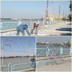 ادامه نصب المان های نوری در خرمشهر در آستانه عید سعید فطر