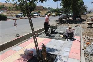 پیاده رو سازی بلوار معلم توسط شهرداری منطقه یک