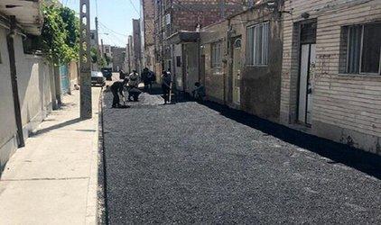 آسفالتریزی در کوچه پیمان خیابان اشرفی لاله
