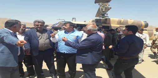توزیع اقلام مورد نیاز روستاهای مسجدسلیمان طی ۴ پرواز با حضور مدیر کل مدیریت بحران استان