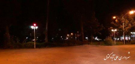 رفع نواقص روشنایی پارک شهر توسط پیمانکار