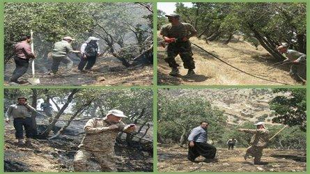 مهار آتش سوزی منطقه بان طولاب(کل انار) شهر ایلام