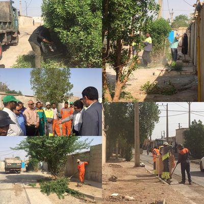 نظافت و پاکسازی کوی ارمغان توسط  خدمات شهری شهرداری خرمشهر