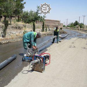 گزارش تصویری از تلاش واحد فضای سبز شهرداری جغتای برای استفاده بهینه از آبهای سطحی  …