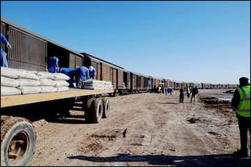ازسرگیری عملیات تخلیه گندم در ایستگاه راه آهن کرمان