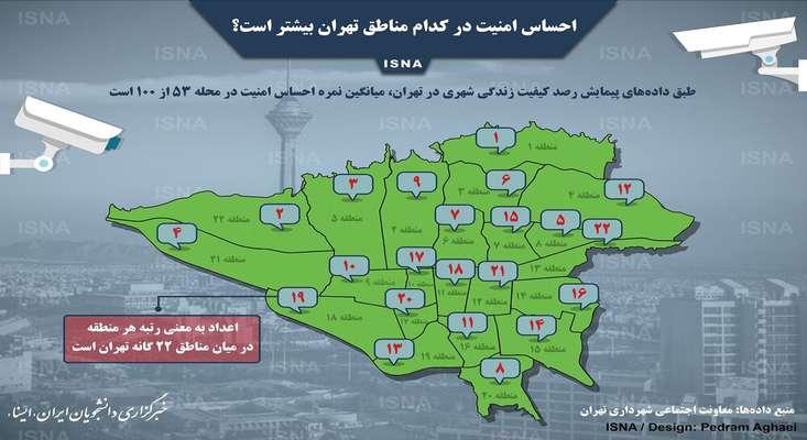احساس امنیت در کدام مناطق تهران بیشتر است؟ + اینفوگرافیک