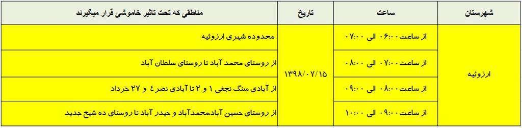 اطلاعات خاموشي15 مهر ماه 98 شهرستان ارزوئيه