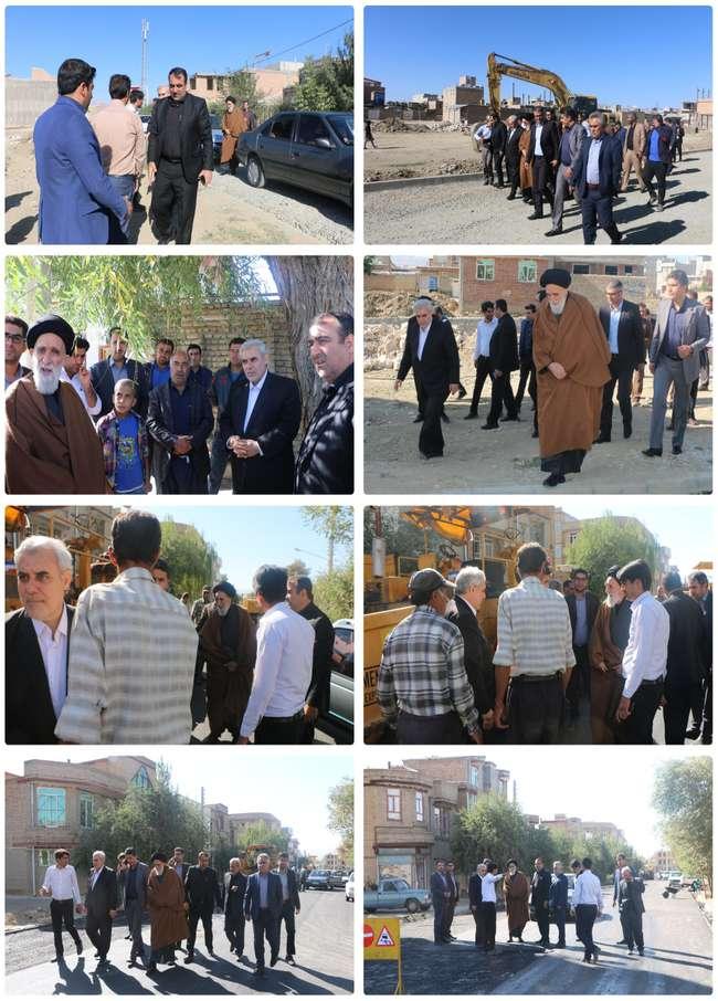 بازدید  امام جمعه، فرماندار، رئیس و اعضای شورای اسلامی شهر همراه با شهردار سلماس از روند و اجرای پرو