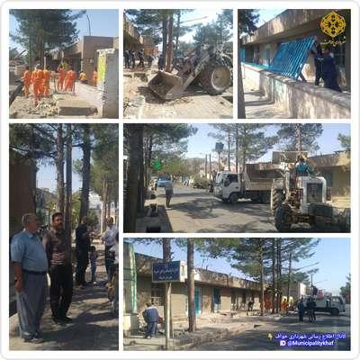 شروع عملیات تعریض خیابان شهید مدرس ( پیاده رو بخشداری )