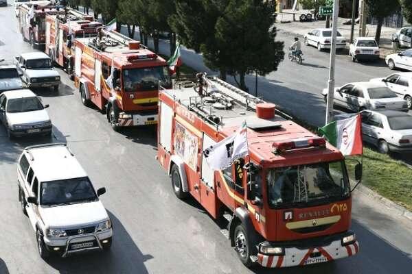رژه ناوگان خودرویی آتش نشانی یاسوج برگزار شد