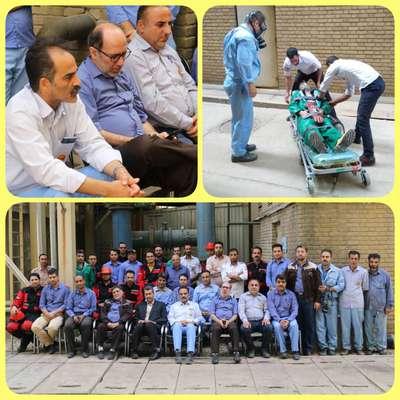 همزمان با هفتم مهر روز ایمنی و آتش نشانی برگزار شد :  مانور آمادگی و ایجاد هماهنگی بین گروه های عملیاتی در زمان ریخت و پاش مواد شیمیایی در نیروگاه شهید مفتح