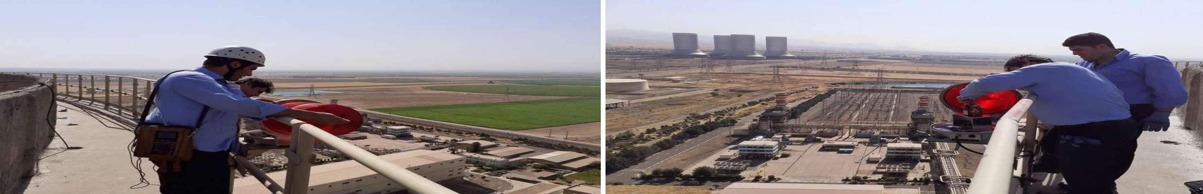 از سوی گروه ایمنی نیروگاه شهید رجایی قزوین انجام شد/ تعویض چراغ های هشداردهنده برج های خنک کننده اصلی