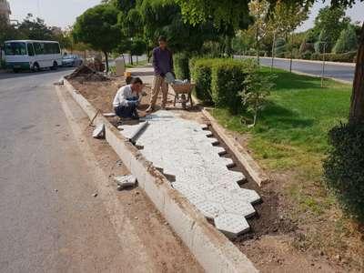 عملیات ترمیم و بازسازی معابر فضای سبز بلوار شهید صیاد شیرازی اجرا شد