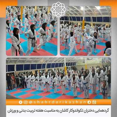 گردهمایی دختران تکواندوکار کاشان به مناسبت هفته تربیت بدنی و ورزش