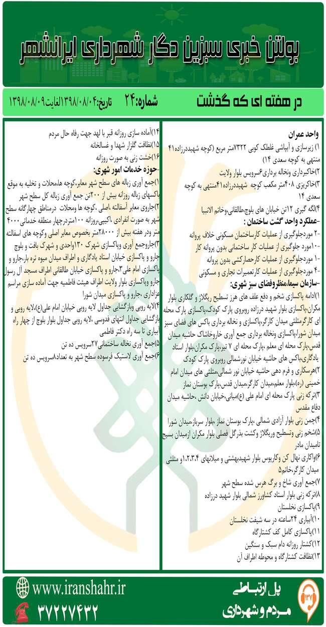 بولتن خبری شهرداری ایرانشهر از تاریخ 98/08/04لغایت98/08/09