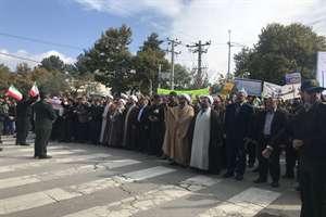 گزارش تصویری حضور کارکنان راه و شهرسازی خراسان شمالی در راهپیمایی 13 آبان ماه 98