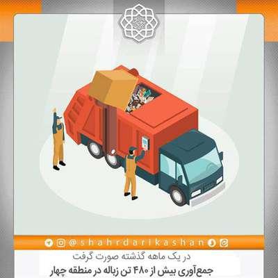 جمعآوری بیش از 480 تن زباله در منطقه چهار