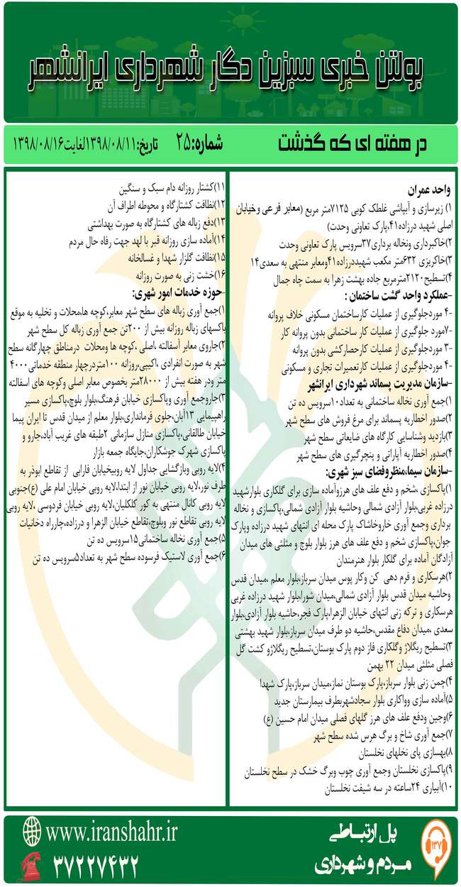 بولتن خبری شهرداری ایرانشهر از تاریخ98/08/11لغایت98/08/16