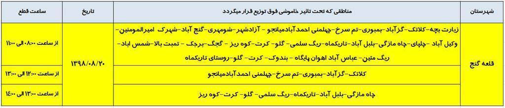 اطلاع رساني خاموشي شهرستان قلعه گنج