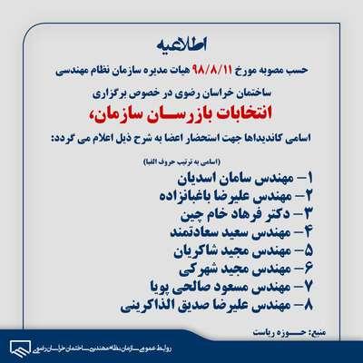 اسامی کاندیداهای انتخابات بازرسان سازمان