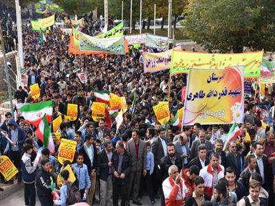 راهپيمايي 13 آبان با همکاري گسترده شهرداري بروجن برگزار شد