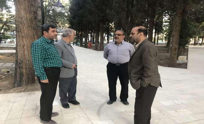 بازدید رئیس و تعدادی از اعضای شورای اسلامی شهر دامغان از مراحل پایانی عملیات عمرانی پارک بزرگ ملت