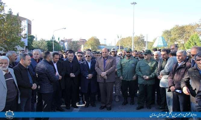 حضور شهردار ساری در راهپیمایی امنیت و اقتدار کشور