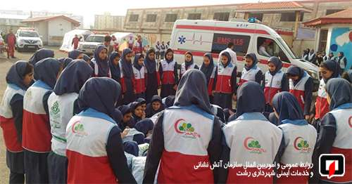 مانور ایمنی در برابر زلزله در مدرسه دخترانه زورمند برگزار شد/آتش نشانی رشت