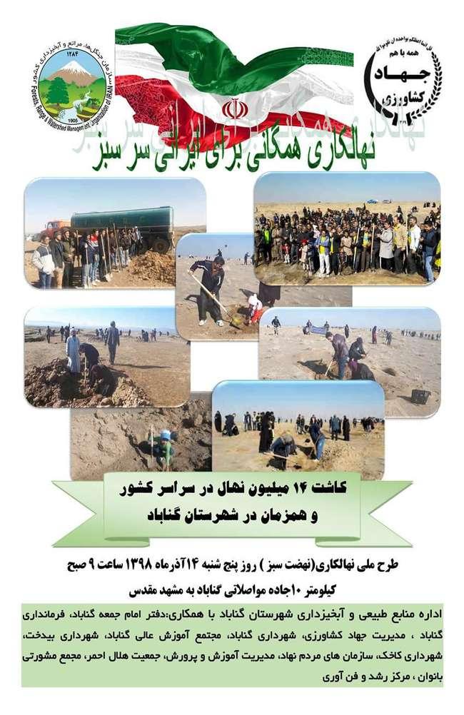 طرح ملی نهالکاری همگانی برای ایرانی سرسبز در گناباد هم برگزار میشود
