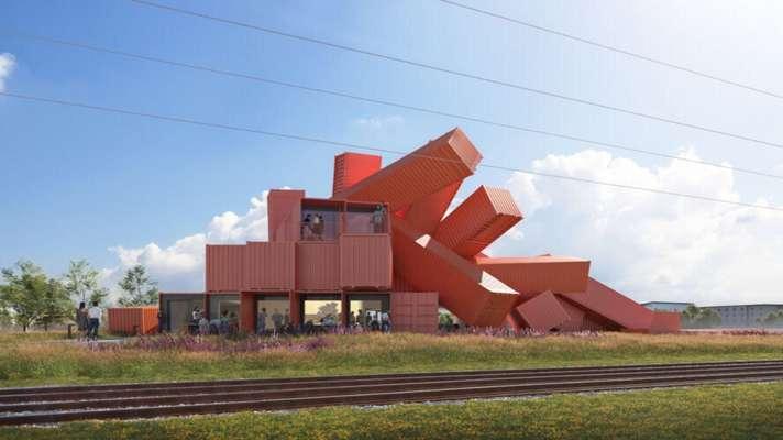طراحی ساختمان اداری با کانتینرهای بازیافتی